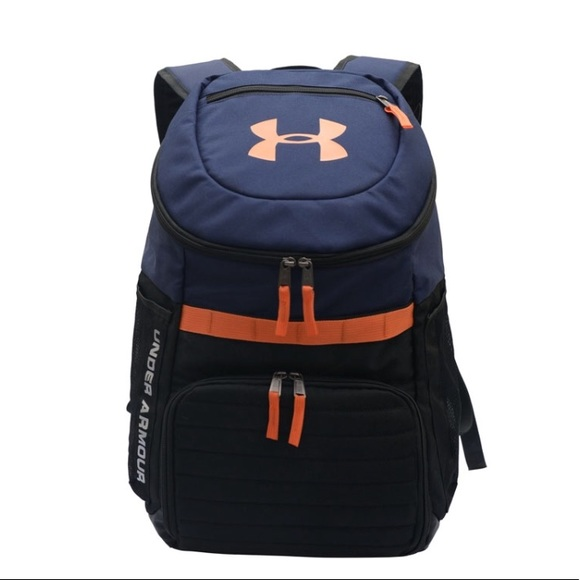 Under Armour Bags   Ua Backpack New Navy Orange Black   Poshmark 9a1f89d48a